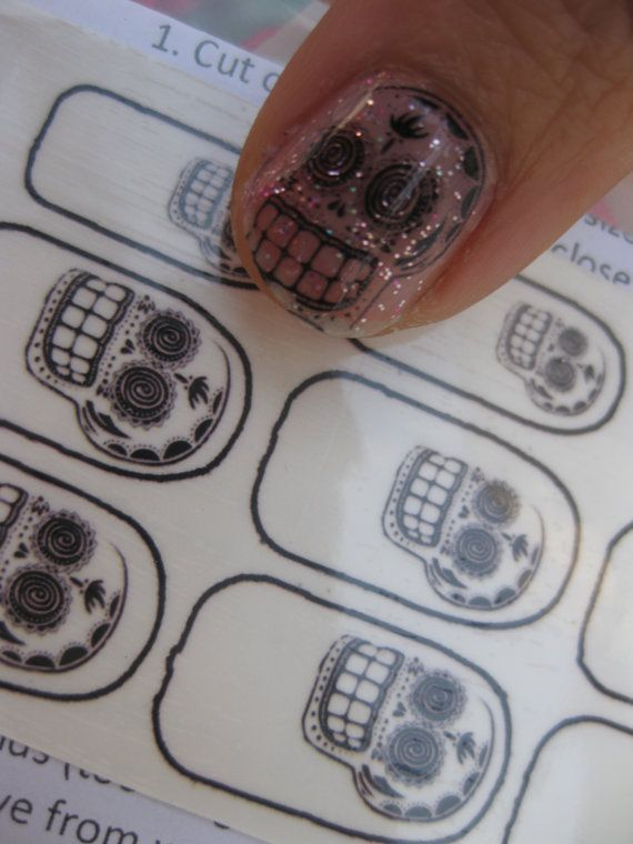 Calavera Clear Nail Decals Mexican Day of the Dead by chachacovers, $5.00