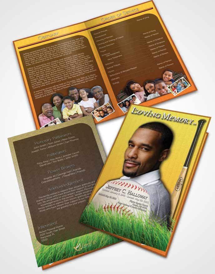 Bifold Order of Service Obituary Template Brochure Sandy Baseball