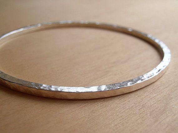 massiv Sterling Silber Armreif Hand geschmiedet