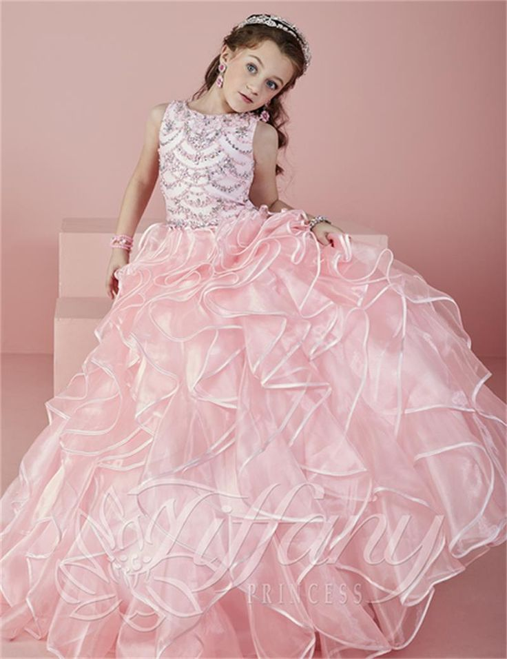 2017 Crystals Beads Flower Girl Dresses Organza Ball Gown Floor-Length Girls Pageant Dresses First Communion Dresses For Girls