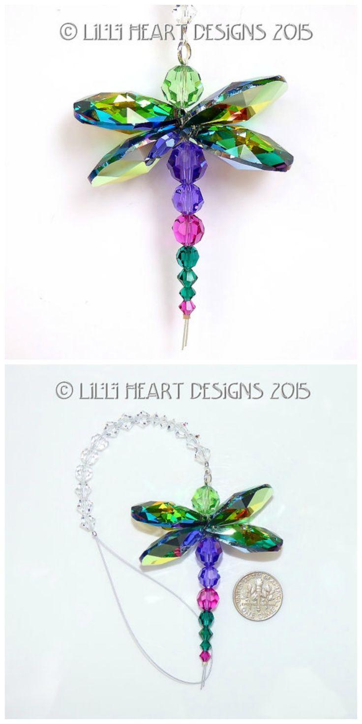 Swarovski Crystal Rare Retired Peacock Colors Dragonfly Suncatcher for Home or Car Charm Rainbow Maker https://www.etsy.com/listing/239973776/mw-swarovski-crystal-suncatcher-colorful