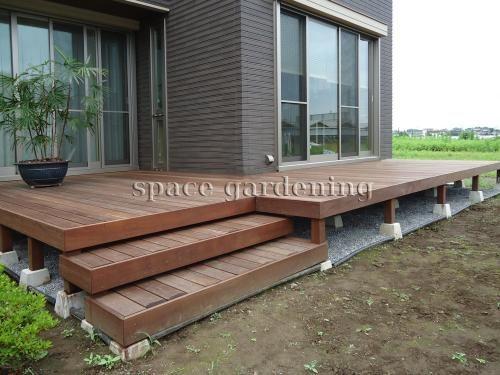 庭 ウッドデッキ ステップ 木製 ウリン材