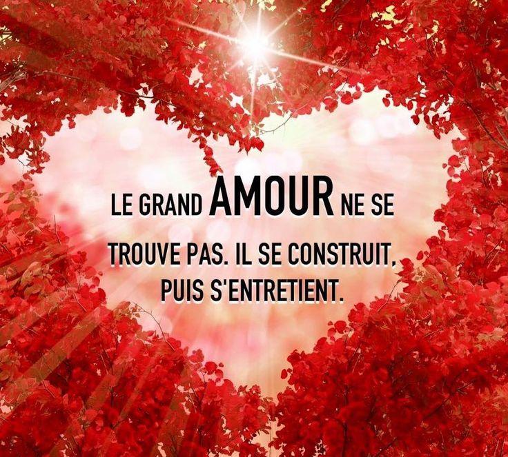 Le grand amour ne se trouve pas. Il se construit, puis s'entretient. #citation #citationdujour #proverbe #quote #frenchquote #pensées #phrases #french #français