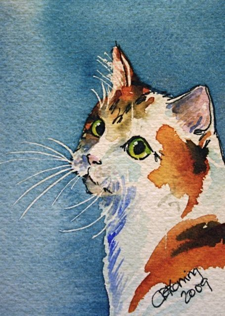 This original ACEO watercolor painting by portrait artist Christy DeKoning features a beautiful cat named Lilith. Unique and OOAK. Add it to your