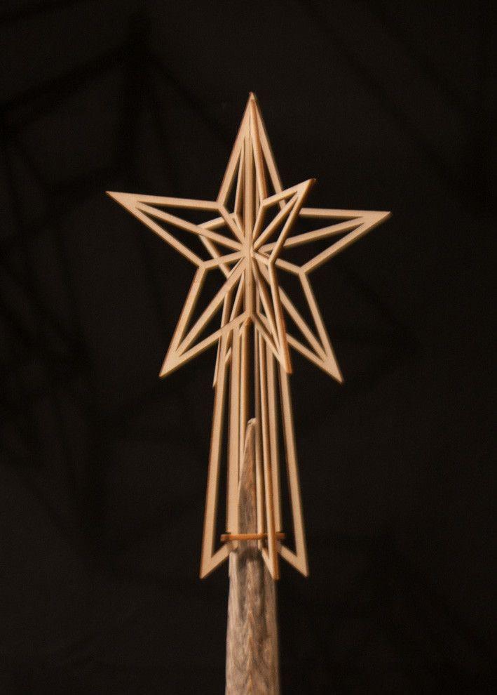 Stella di Betulla per albero di Natale. Fatto a mano in Finlandia. Decorazione tradizionale Scandinavo. - 39.00€
