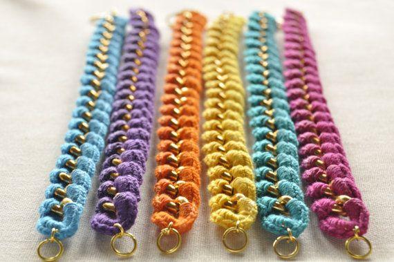 Haak-verpakt keten armbanden met kwast Charms door LoveNikita