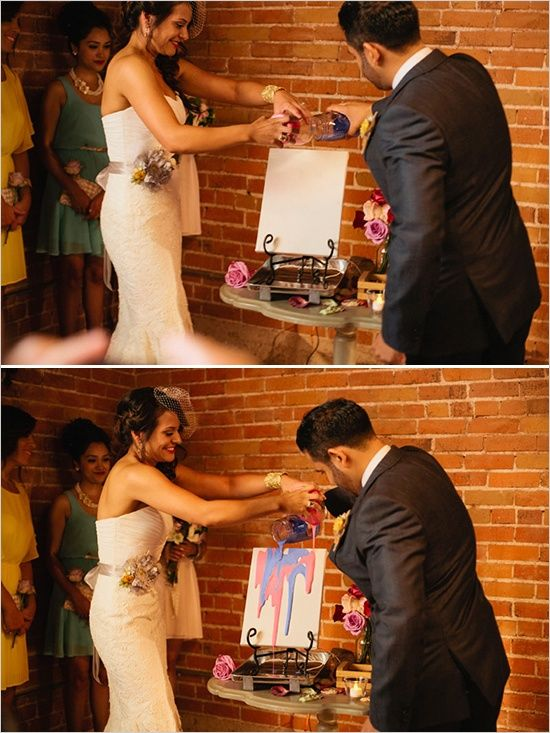 Modernize It! Instead of mixing colored sands in a jar, this couple mixed paint on a canvas during their ceremony. This is how you change a tradition and make it your own!  I love this! But maybe add a monogram in tape, and tear the tape off after the paint dries.