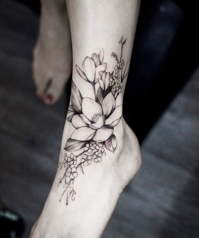 Magnolias by Helen.  @helenxu_tattoo  #thefineartfactory #teamgoldeniron #goldenirontattoostudio
