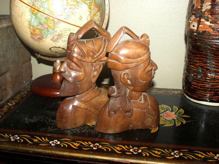 Vintage South East Asian Bookends, Home Office Decor, Carved Heads, Antique Alchemy