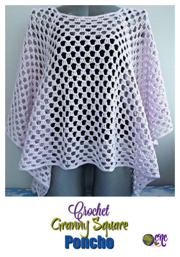 Free Crochet Granny Square Poncho Pattern Haken Gratis Patroon
