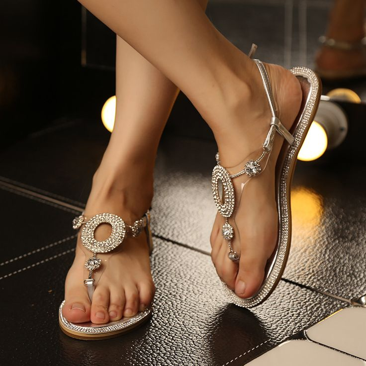 Koovan Women Sandals 2017 Flat Diamond Toe Summer Fashion Bohemia Beach Shoes Women's Shoe Rhinestone Flip Girls Students Woman