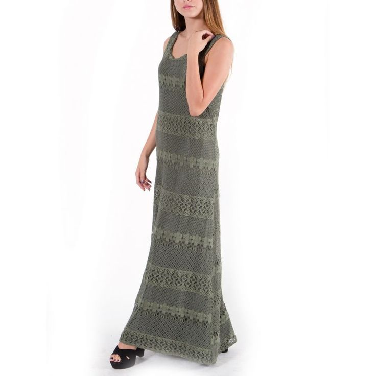 ATTRATTIVO Γυναικεία λαδί maxi πλεκτό αμάνικο φόρεμα