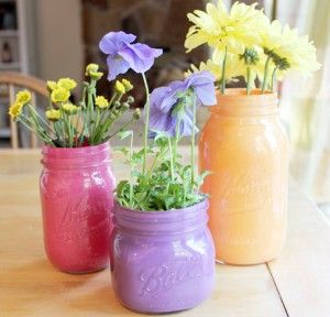 Painted mason jars- pour paint into mason jars, swirl paint all around, pour excess paint out, turn mason jar upside down to dry!