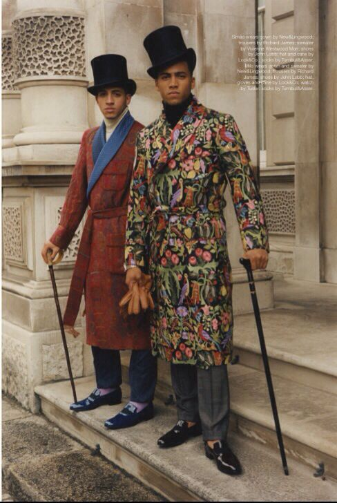 Scoundrels of St. James in New&Lingwood Smoking Gowns. Trousers by Richard James. Turtlenecks by Versace and Vivienne Westwood. Shoes by John Lobb. Top hats, canes and gloves by Lock&Co