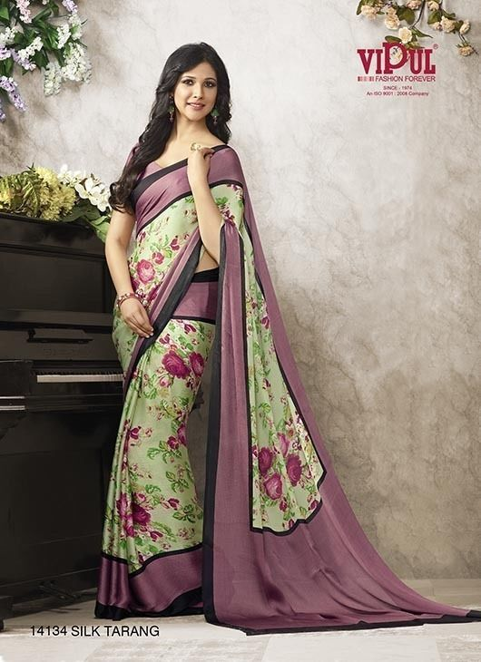 New Designer Printed Indian Pakistani Ethnic Bollywood Crepe Silk Saree Sari