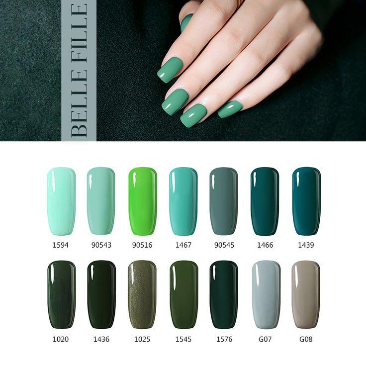 BELLE FILLE UV Gel Nagellack 10 ml UV LED Nagel-gel dunkelgrüne Farbe Lack Gelpolish Lack Professionelle fingernagel polnisch