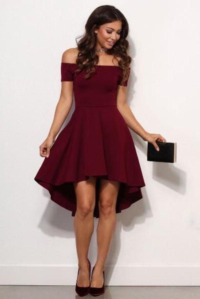 vestidos-de-fiesta-cortos-rojo-asimetrico-hombros-desnudos