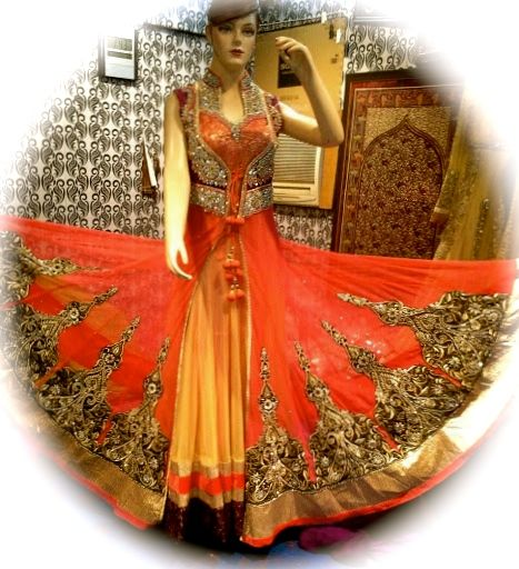 This beautiful Anarkali is available in Orange and Purple.