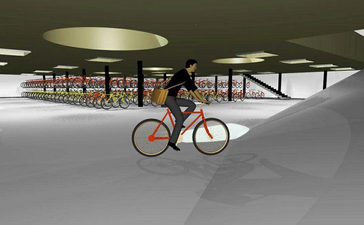 Pyöräpysäköinti Elielinaukiolla //  Päärautatieaseman pyöräpysäköintiin ideoitiin pyörien parkkihalli, joka on osa nykyisestä maanalaisesta autojen parkkihallista. Valvotut hallipaikat toimivat myös pidempiaikaisessa säilytyksessä. Palvelua täydentävät päivittäiseen asiointiin varatut Elielinaukion pyörätelineet viihtyisässä aseman puutarhassa.   // Suunnittelijat Juuso Andersin, Jannica Jahnsson, Sonja Skogster ja Maxime Richard