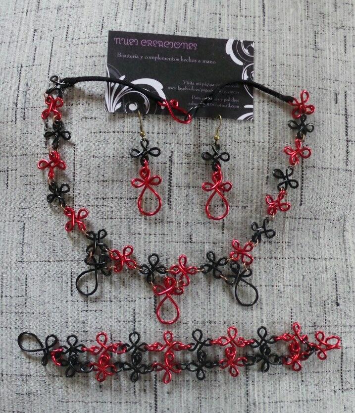 Conjunto en aluminio negro y rojo