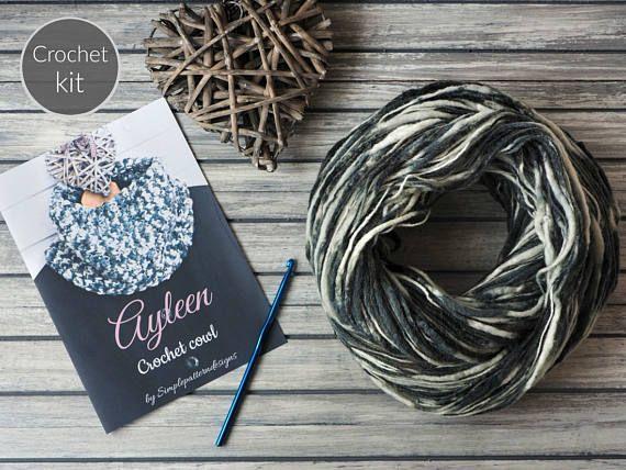 CROCHET KIT  Ayleen crochet cowl beginner crochet scarf