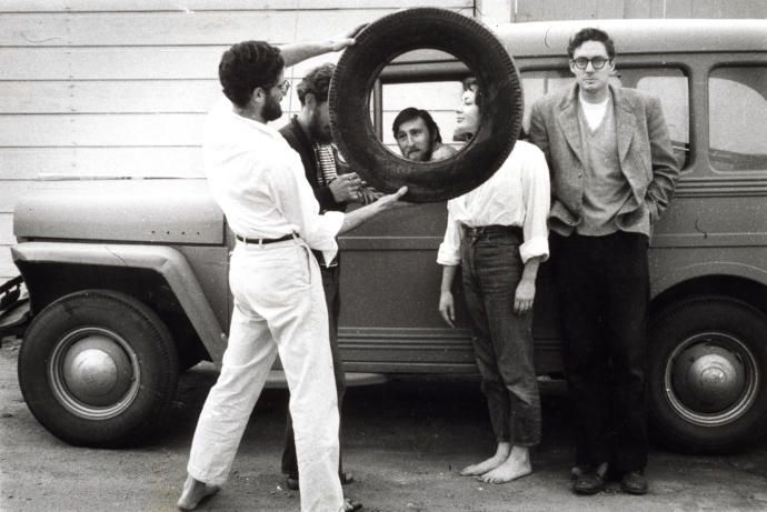 The art curator Walter Hopps, on the far right, in the alley next to Ferus Gallery, in Los Angeles, ca. 1957.