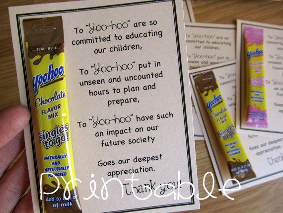 Printable PDF Yoohoo Teacher Appreciation Idea by sweetmellyjane
