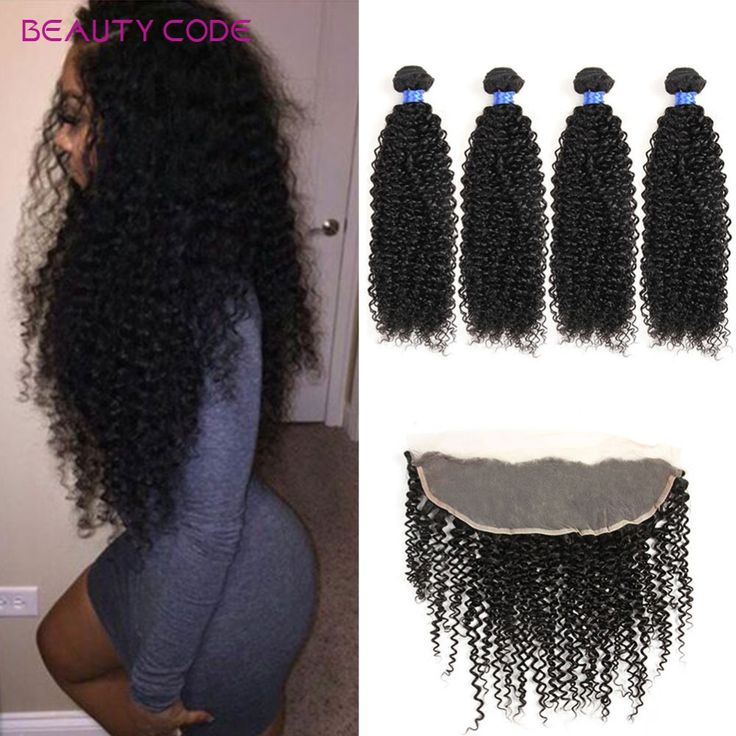 Grade 8A Kinky Curly Lace Frontal with Bundles Mink Brazilian Virgin Hair Kinky Curly with Frontal Closure Brazilian Curly Hair