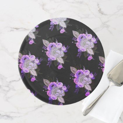 Beautifulretromodernfloralultra violet black cake stand - retro kitchen gifts vintage custom diy cyo personalize