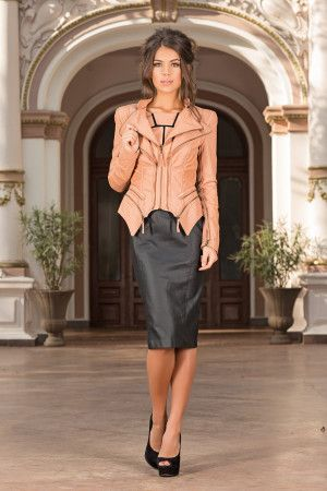 Very elegant and chic jacket that can be worn with a pair of jeans or with a dress. Sculptural Nude Jacket adds a stylish layer to your everyday look. A real must for the season, this chic jacket will be the most versatile item in your wardrobe-by Vero Milano!