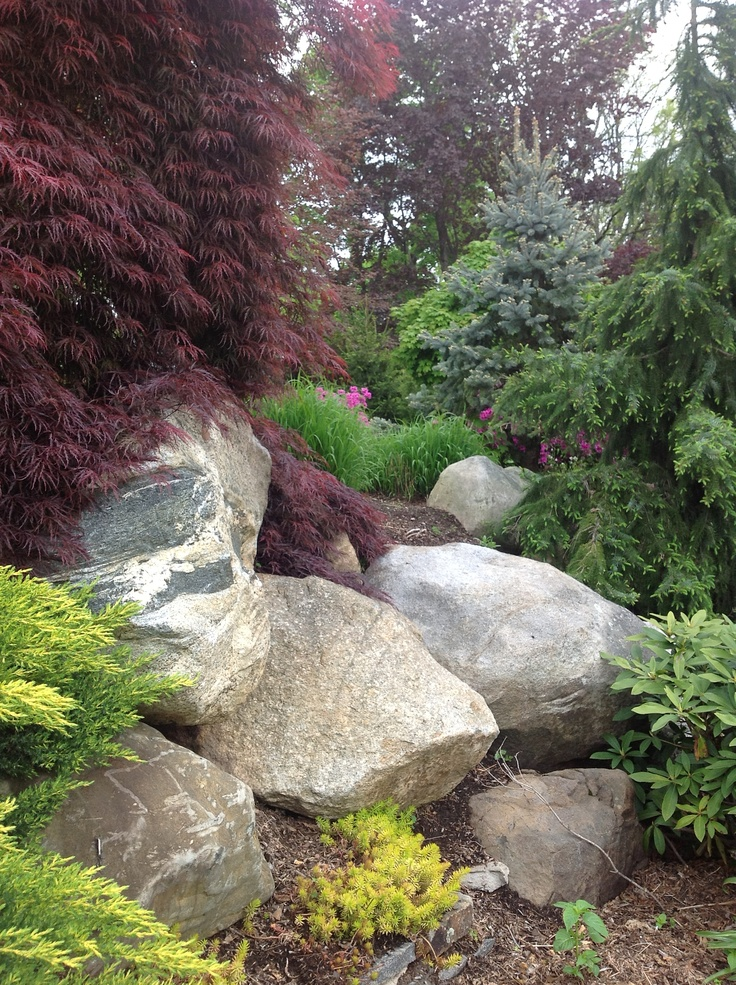 43 best boulder landscaping images on pinterest for Landscaping with rocks and boulders