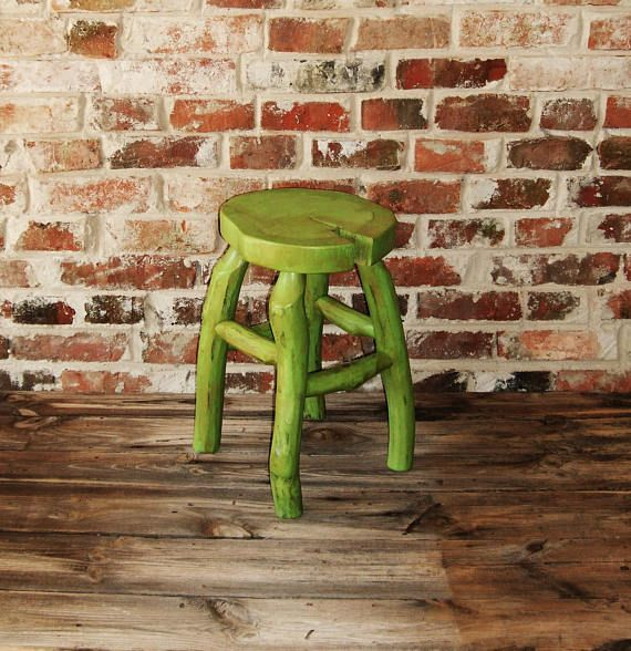 Wood slice log furniture stool pine linden tree cracked green