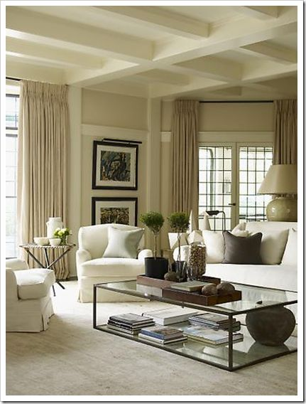 Manchester tan -- colour scheme for second floor: Neutral Living Rooms, Beautiful Living Rooms, Curtains, Idea, Beams, Coffee Tables Style, Colors Schemes, Memorial Tables, Sweet Life