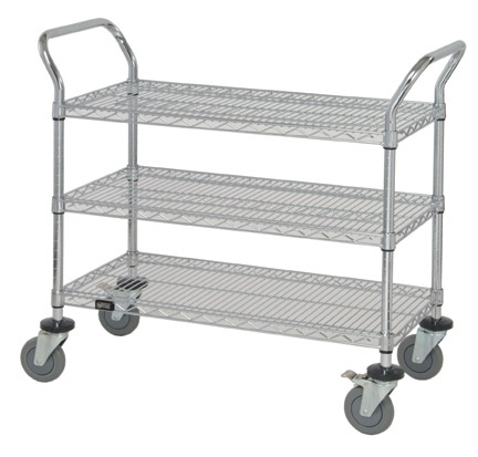 3 Shelves Wire Carts On Wheels For Storage - Rolling Wire Carts With Wheels Unit Systems: Justshelfit.com sells affordable and easy to handle wire rolling carts on wheels that can be maneuvered through corridors and doorways without difficulty.