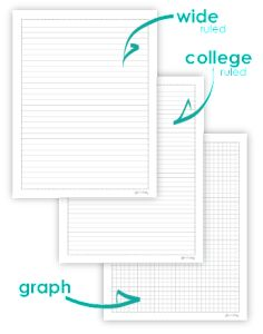 college ruled paper vs wide ruled Wide ruled (or legal ruled) paper has 11/32 (87mm) spacing between horizontal lines, with a vertical margin drawn about 1-1/4 (3175mm) from.