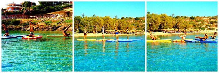 Early SUP Yoga class with Nefeli Stamouli at Loutraki beach, Chania Crete on our Mistral boards.  http://paddleboardyoga.net/