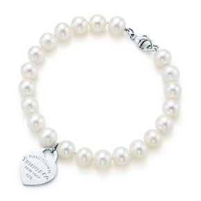 Placa estilo corazón Return to Tiffany™, plata, pulsera de perlas de agua dulce.