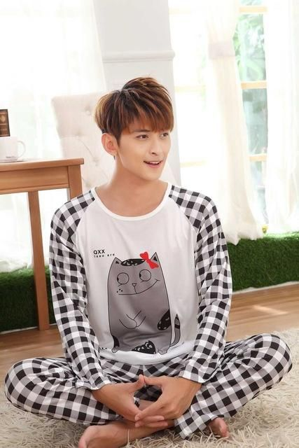 Spring and Autumn section of cotton men s casual cartoon pajamas fashion  simple long-sleeved two-piece suit home service 25948ed68