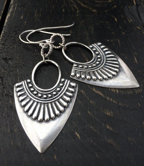 Silver Tribal Earrings Antique Silver Hoop by KarenTylerDesigns