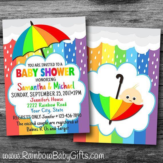 Nice Printable Rainbow Baby Shower Invitation