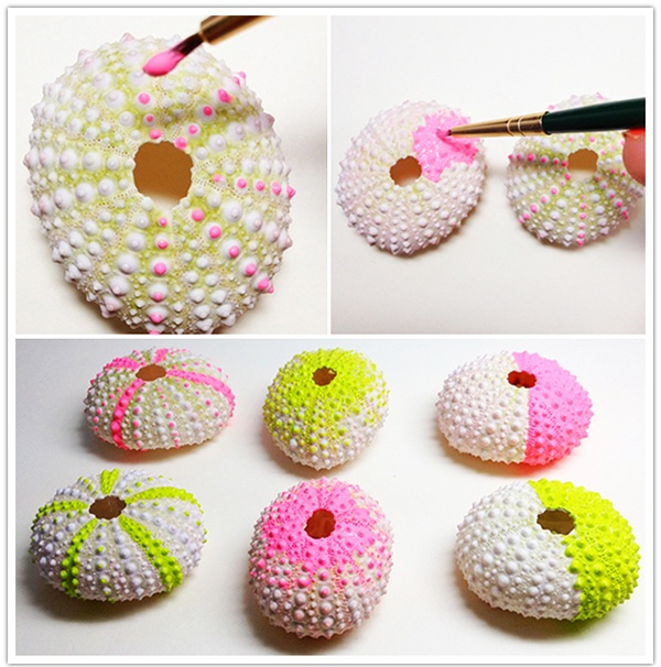 DIY Neon Sea Urchin Vases Are So Cute Easy And COLORFUL Great Little Crafty Idea You Dont Need To Live By The Ocean They Sell These At Craft Stores