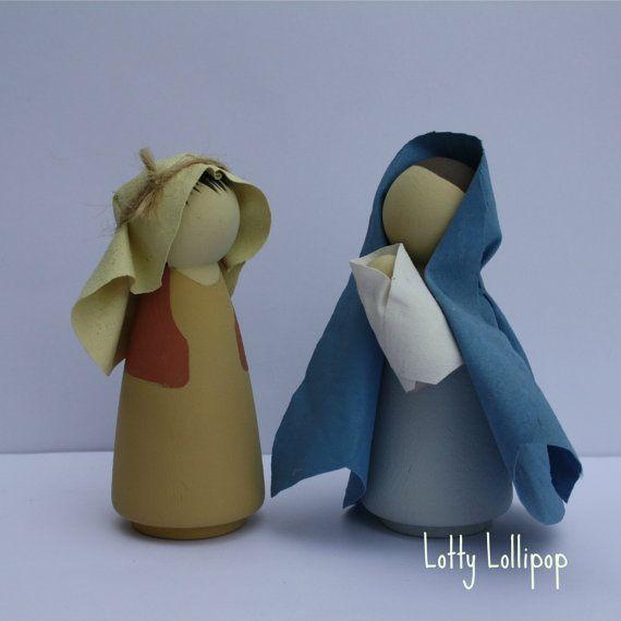 Mary Joseph and Jesus Nativity Peg Doll by LottyLollipop on Etsy, £22.00