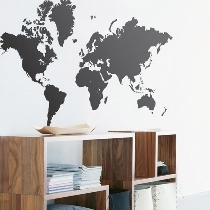 Black Map of the World Wall Sticker Decal Vinyl Art Sticker Home Decor Large gift