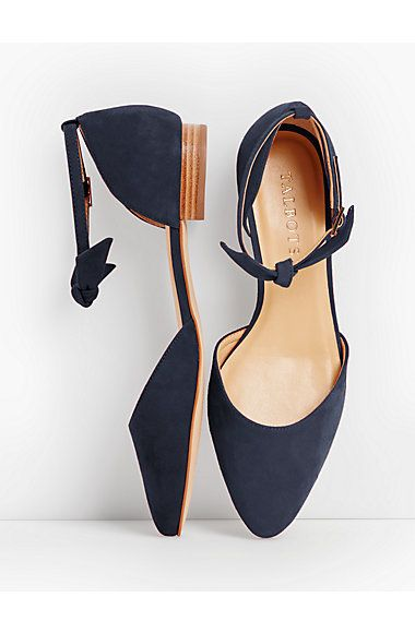 Edison Ankle-Strap Flats-Suede - Talbots