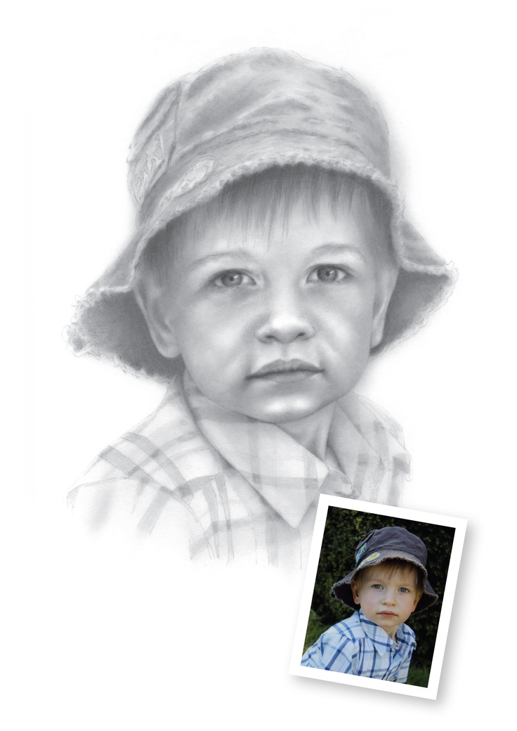 "Pencil Drawings of Boys - Hector.  ""I love this photo but love your  drawing even more!""  Audrey, Alresford, Hampshire"