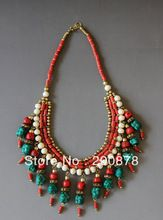 Tnl512 подлинная тибетской ювелирные изделия тибет искусственный коралловый бирюзовый мульти прелести бисером ожерелья непал яка кости(China (Mainland))