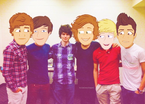 "The boys with the creator of ""The Adventurous Adventures of One Direction""  -H"