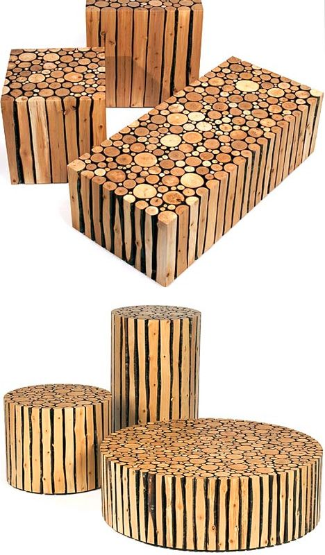 upcycled geometric log tables