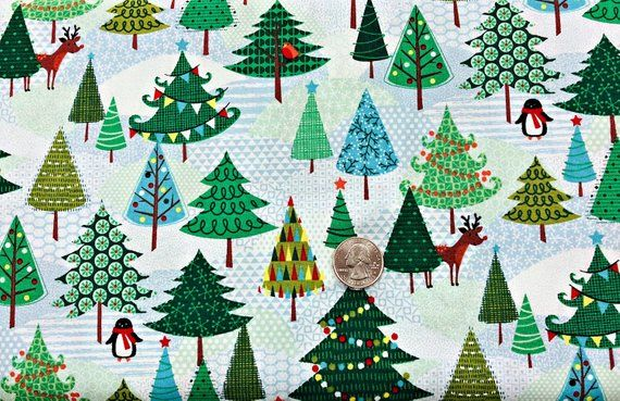 Riley Blake Fabric Way Up North Santa In The Forest Grey HALF METRE
