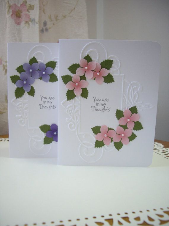 handmade sympathy card, purple sympathy card, pink sympathy card,condolence card, thinking of you card, friendship card, wildflower card